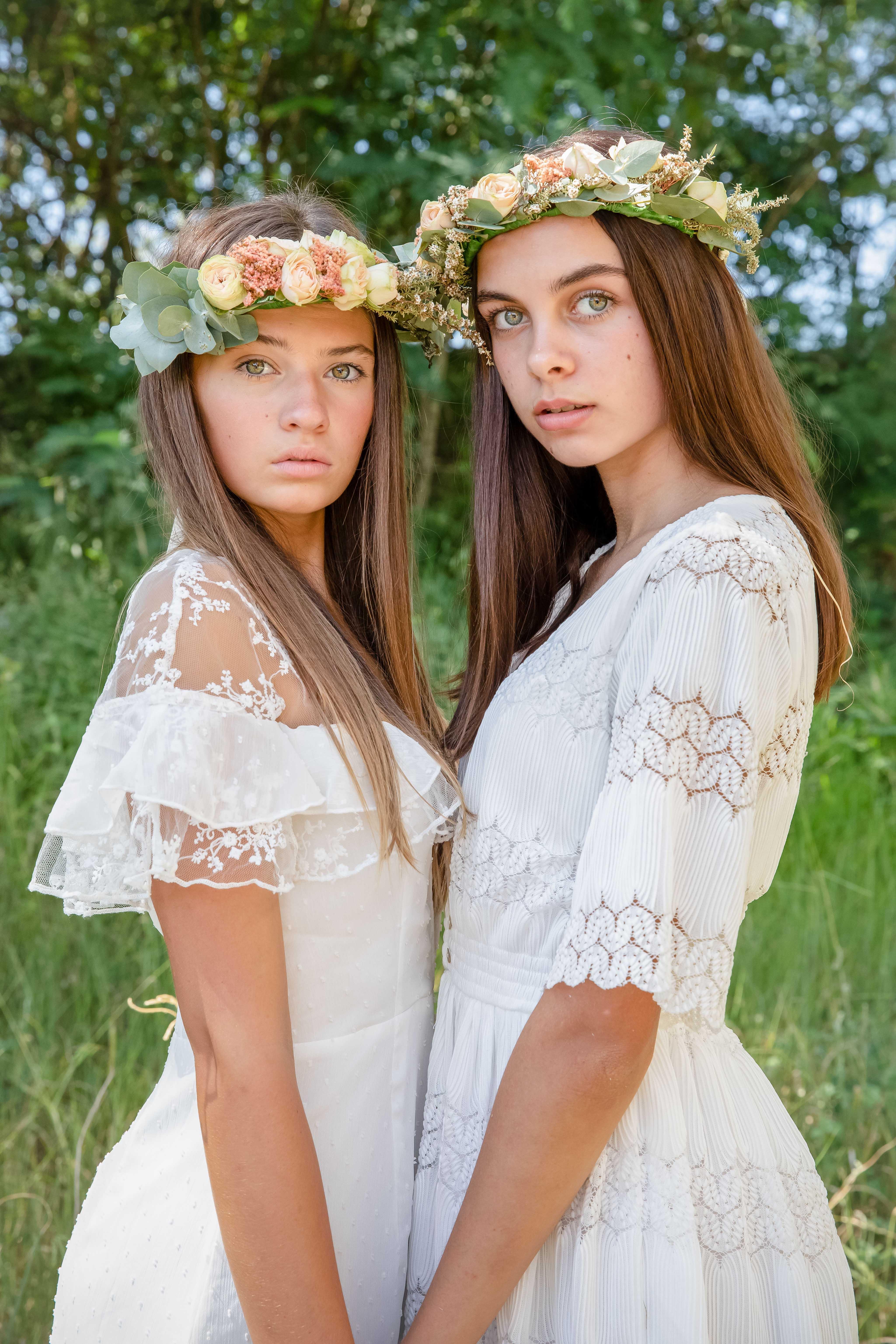 Models, flower crown, boho wedding